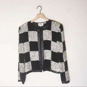 Vintage Black/Silver Sequin Silk Checkered Jacket